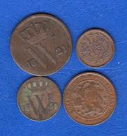 Pays  Bas  Cent  1821 + 1/2  Cent  1854  +  2 Pieces - 1815-1840 : Willem I