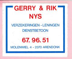 Sticker - Verzekeringen Leningen Dienstbetoon GERRY & RIK NYS - Molenwiel Arendonk - Autocollants