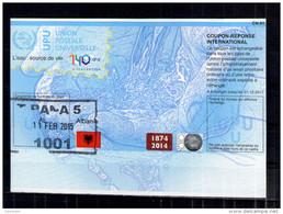 7490  IRC IAS CRI International Reply Coupon Albanien Albanie T39 Gest. Tirana AL20140729AA - Albania