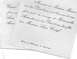1912 Mariage 2 Feuilles Cortyl Louis & Van Den Peerenboom ANtoinette Bailleul Château De Blendecques De GHELCKE Saint-O - Wedding