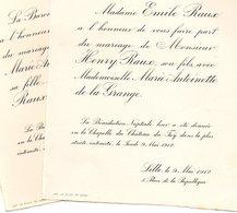 1912 Mariage 2 Feuilles Antoinette De La Grange & Emile Raux Lille Château Du Faij Cobrieux Le CLÉMENT De SAINT MARCQ - Wedding