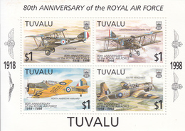 1998  Tuvalu Royal Air Force RAF Aviation Military Planes  Complete  Set Of 1 Souvenir Sheet MNH - Tuvalu