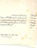 1912 Mariage 2 Feuilles Jacques D'oultremont & Gabrielle D'Ursel Bruxelles Wauthier Braine Du Chastel De La Howardries P - Wedding