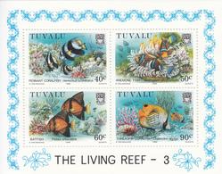 1989  Tuvalu Marine Life 3 Fish Poisson Complete  Set Of 1 Souvenir Sheet MNH - Tuvalu