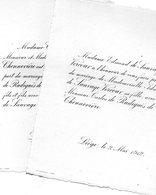 1912 Mariage 2 Feuilles De Radigues De Chennevière & Ida De Sauvage Vercour Liège Minette Yernée-Fraineux ROLY De VIEN - Wedding