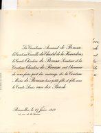 1912 Mariage 2 Feuilles Marie De Renesse Du Chastel De La Howardries & Van Den Burch Bruxelles Vanden Kerchove - Wedding