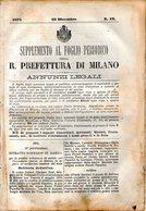 B 2530  -  Supplemento Al Foglio Periodico Della R. Prefettura Di Milano. Annunzi Legali, 1876 - Decreti & Leggi