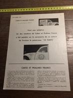 ANNEES 60 PUBLICITE CAKES ET PRALINES FRANCE CE PARFE LE PIOUFFE LAVA CITROEN 2 2CV CV FOURGONNETTE - Alte Papiere