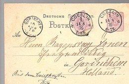 1876 COESLIN (CÖSLIN) = KOSZALIN Polska Poland To Gorinchem Holland Order Of Coffee And Tea (690) - ....-1919 Provisional Government