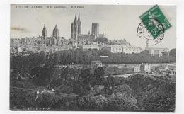 COUTANCES - EN 1911 - N° 3 - VUE GENERALE - CACHET AMBULANT TRI FERROVIAIRE - CONVOYEUR - CPA VOYAGEE - Coutances