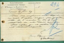 62 Wizernes Papeteries De L' Aa Anciens Établissements Dambricourt Frères  (  Filigrane DAMBRI ) 15 Juin 1905 - Imprimerie & Papeterie