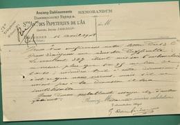 62 Wizernes Papeteries De L' Aa Anciens Établissements Dambricourt Frères 14 Avril 1908 - Imprimerie & Papeterie