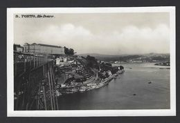 PORTO / PORTUGAL Postal Fotográfico Ponte De D. Maria Pia Sobre Rio Douro,Comboio.Edição Do Café Excelcior. Old Postcard - Porto