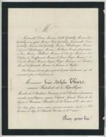 Faire-part De Décès Du Président Louis Adolphe Thiers . St-Germain-en-Laye 1877 . - Obituary Notices