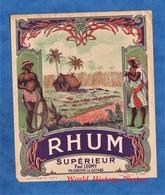 Etiquette Ancienne - RHUM Supérieur - Maison Paul LEOMY - Villeneuve La Guyard - Caricature Homme Noir Antilles - Rhum