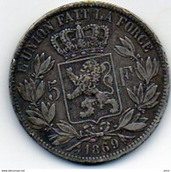 Sam-  5 Francs - Belgique - Léopold II - Année 1869 - Argent - 09. 5 Francs