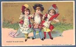 Chromo Or Doré Chocolat Guerin-Boutron Vallet Minot Enfants Fillettes Déguisement Mariée Maman Va Bien Rire - Guerin Boutron