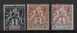 French India 1892,Scott # 1-3,VF Mint Hinged*OG (GLN-1) - India (1892-1954)
