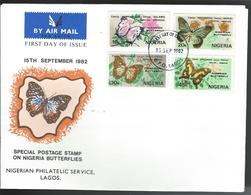 Nigeria. Scott # 416-19 FDC. Nigeria Butterflies 1982 - Nigeria (1961-...)