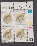 South Africa-Ciskei Scott R23 1981 Birds,25c Burhinus Capensis Dated 1988,Block 4,mint Never Hinged - South Africa (1961-...)
