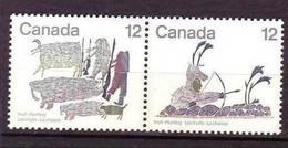 Canada, 1977, #750-751, Chasse Chez Les Inuits, Indiens D'amérique, Tir à L'arc, Arme à Feu, Morse, Amerindians, Rifle - Indiens D'Amérique