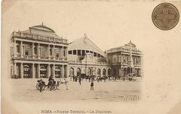 6-ROMA-PIAZZA TERMINI-LA STAZIONE(CARROZZE)CARD COMMEMORATIVA ANNO SANTO 1900) - Stazioni Senza Treni
