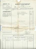Javingue Sevry Avertissement Extrait Des Rôles 1914 - Belgium