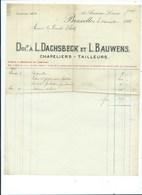 Bruxelles 1911 Chapeliers Tailleurs  L. Dachsbeck Et L. Bauwens - Belgium