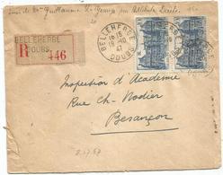 N°760 PAIRE LETTRE REC BELLEHERBE 18.10.1947  AU TARIF - Postmark Collection (Covers)