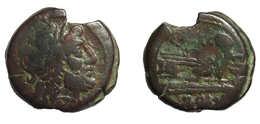 [H] +++ AE Semis - Q. Marcius LIBO. Saturn / Prow Of Galley - Cr. 215/2 +++ - Römische Münzen