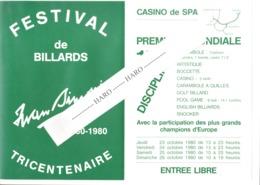 Casino De SPA 1980 - Invitation - Exhibition De Billard / Bijlard / Biliardo - Publicité Drap I. Simonis Verviers (jm) - Announcements