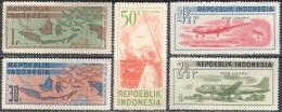 3184 War Blocade Planes Aviation Ships Optd. Pos Udara 1948 Indonesia 5v Set MNH ** 30ME - Militaria