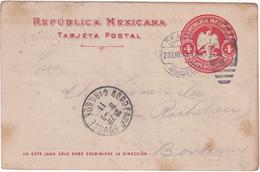 Mexique - Entier Postal De Vera Cruz Pour Bordeaux (33) - 23 Janvier 1911 - Préaffranchi 4c - 2 CAD - Mexico