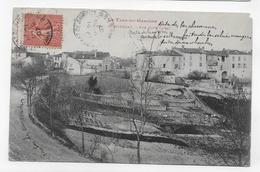 (RECTO / VERSO) MONTPEZAT EN 1907 - VUE COTE OUEST - BEAU CACHET ET TIMBRE - ANGLE HAUT A DROITE ROGNE - CPA VOYAGEE - Montpezat De Quercy