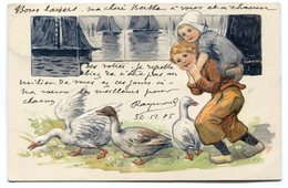 CPA - Carte Postale - Fantaisie - Enfants - Oies - 1905 (C8613) - Scènes & Paysages