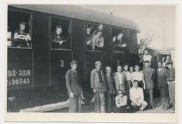 REAL PHOTO -  TRAIN In Railway Station Men Railway Workers  -  Jugoslovenska Zeleznica,  Old Photo - Trains