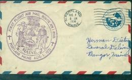 USA 1931 . 1er Vol Portland / Bangor Beau Cachet Violet.arrivée Au Verso. - 1c. 1918-1940 Cartas