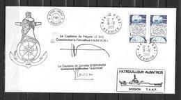 Patrouilleur ALBATROS -  Prise De Commandement Signature Des 2 Commandants TàD LE PORT 08/08/86 - Postmark Collection (Covers)