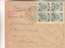 Lettonie - Lettre Recom De 1920 - Oblit Ezhsis - Exp VersTallinn - Avec Bloc De 4 - Latvia