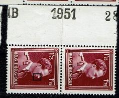 832 Paire **  Bdf 1951  Cu  T2  Le Nez Coule - Abarten Und Kuriositäten