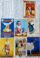 Lot De 7 CPM Publicitaires Savon: Le Petit Chat, Cadum, Gibbs, Candor, Le Gaulois .... - Pubblicitari