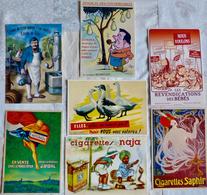 Lot De 7 CPM Publicitaires : Cigarettes (Saphir, Naja Dessin De G. Bouret, J.Vidal) + Divers (voir Scan) - Pubblicitari