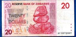 Zimbabwe  -  20 Dollars 2007   - Pick # 68    - état  TB+ - Zimbabwe