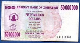 Zimbabwe  - 50 Millions 30/6/2008   - Pick # 57    - état  TB+ - Zimbabwe