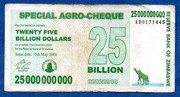 Zimbabwe  - 25 Billions 15/5/2008   - Pick # 62    - état  TB - Zimbabwe