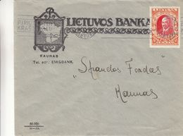 Lituanie - Lettre De 1933 °  ? - Oblit Kaunas - Exp Vers Kaunas - Banque - Carte De Lituanie - Lituanie