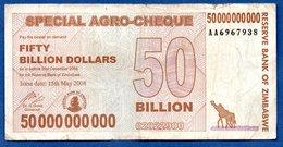Zimbabwe  - 50 Billions 15/5/2008   - Pick # 63    - état  TB - Zimbabwe
