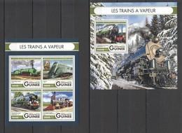 ST022 2016 GUINEE GUINEA TRANSPORT STEAM TRAINS 1KB+1BL MNH - Trains