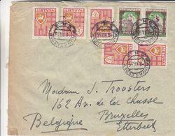 Lituanie - Lettre De 1935 ° - Oblit Kaunas - Exp Vers Bruxelles - Armoiries - - Lituanie