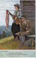 Musikerpaar Liebespaar Mit Gitarre Und Spruch 1923 - Paare
